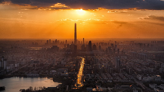 tianjin, twilight, city, scenery, tourism, sunset, tower