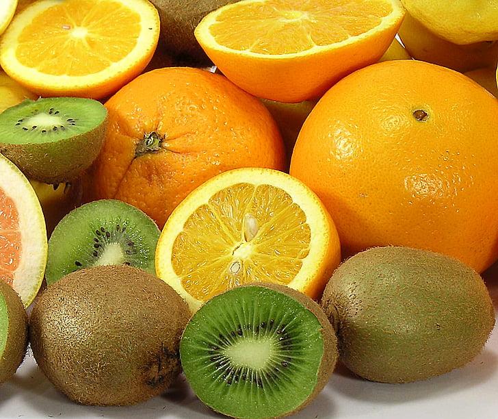 frukt, södra frukter, rikedomen i, färsk, näringslära, apelsiner, Kiwi