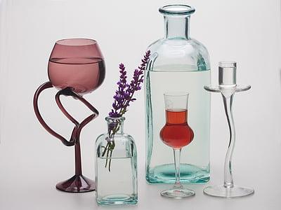 bodegons, flor, ampolles, calzes, ulleres, ampolla, estudi de tir