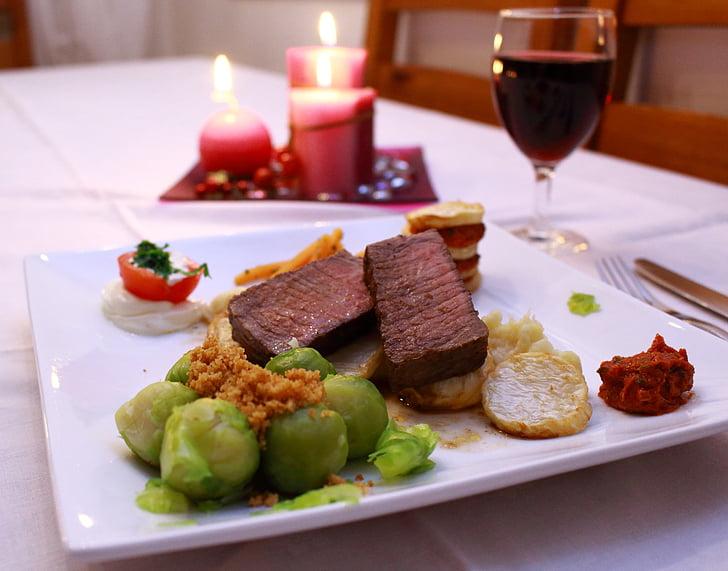 Bistec, carn de boví, Filet, carn, menjar, beguda, vi