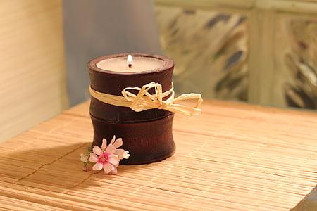 gyertya, bambusz, Láng, virág, wellness, bambusz mat, fény