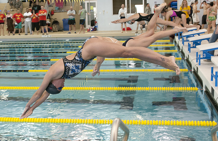 Natació, cursa, competència, Inici, Submarinisme, carrils, nedadors