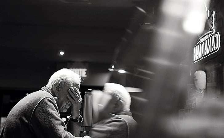 black-and-white, elderly, man, old, person, reflection, sitting