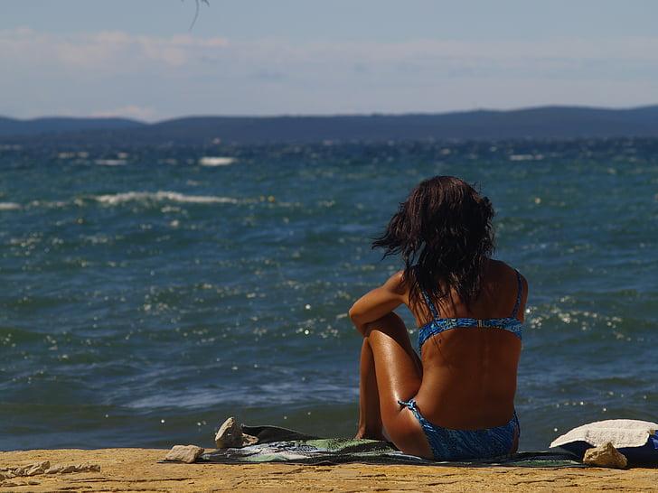noia, Mar, Costa, platja, l'estiu, l'aigua, jove