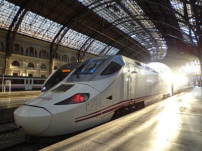 tog, stasjon, TGV, transport, spor, transport, jernbane spor