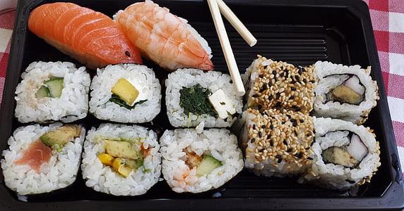 sushi, Caixa de sushi, Àsia, peix, arròs, aliments, crua