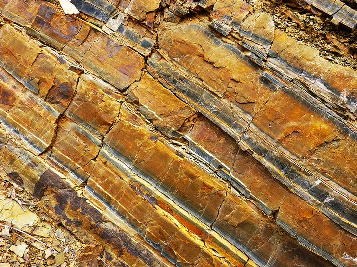 Rock, vrstvy, Bridlica, Nástenné, skaly, kamene, hnedá