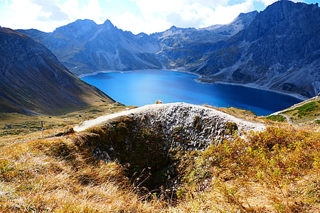 reservatório, barragem, Lago lüner, montanhas, modo de exibição, perspectivas, Lago