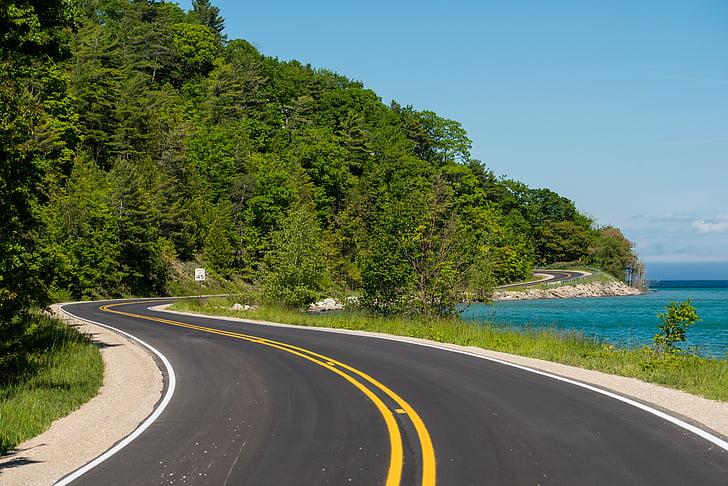 đường quanh co, đường, phong cảnh, quanh co, nhựa đường, đường cong, nông thôn
