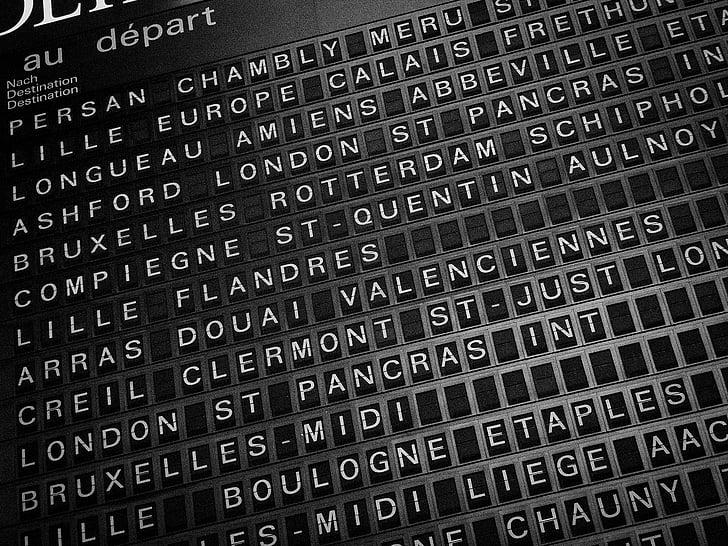 en blanc i negre, Destinacions, viatge, l'estació de, viatges