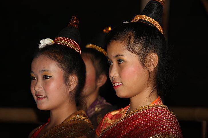 Laos, chica, Asia, belleza, caras, traje, hermosa