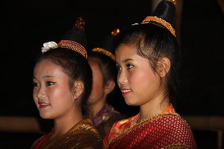 Laos, Gadis, Asia, Salon Kecantikan, wajah, kostum, Cantik