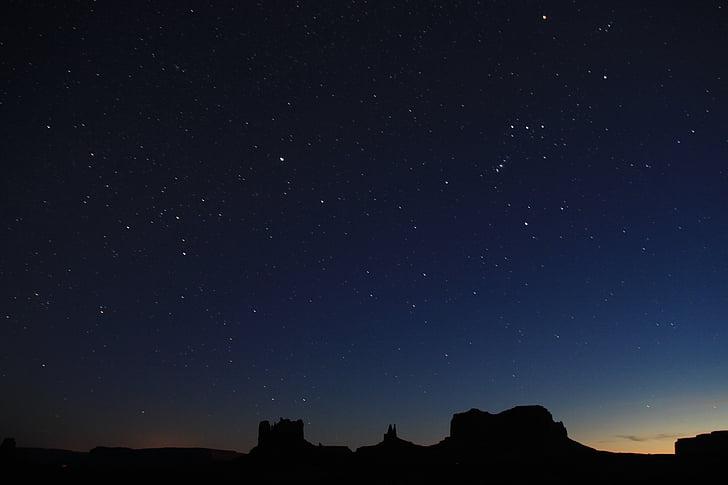 estrela, escuro, à noite, constelação de, silhueta, natureza, paisagem