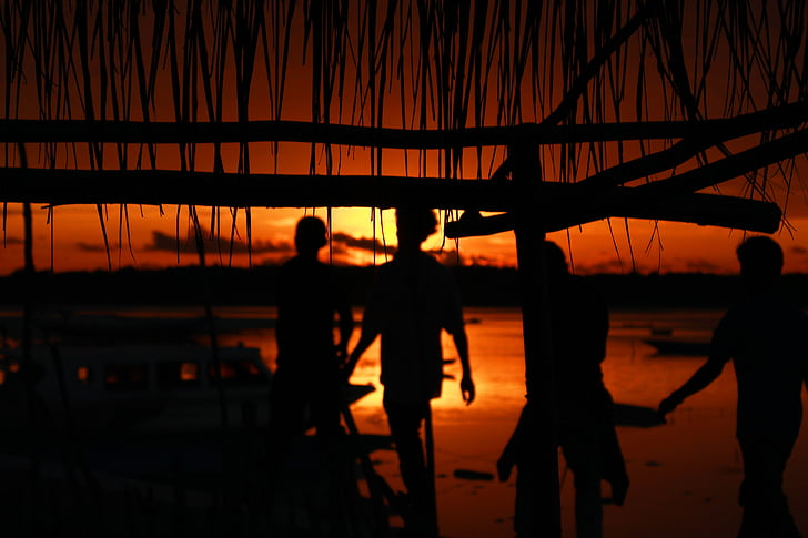 zachód słońca, morze, człowiek, Indonezyjski, Plaża, niebo