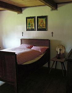 bed, baby room, sleeping place, bedstead, wooden bed, antique, nostalgia