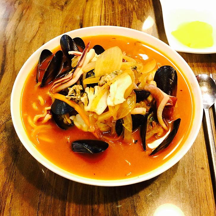麻辣海鲜, 贻贝, 海鲜, 如果, 面条, 食品, 美味