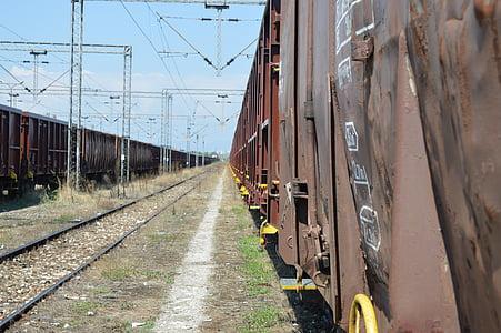 Horisont, spår, Rails, vagnar, tågspåren, järnväg, tåg
