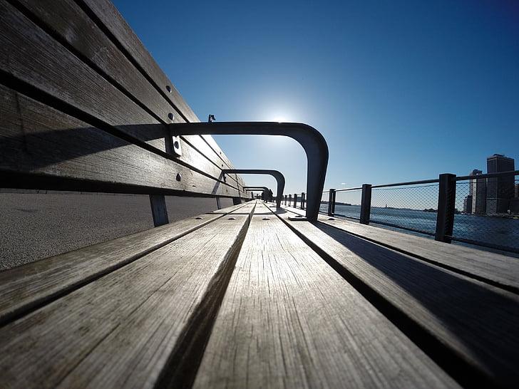 bench, sun, infinite, outside wood