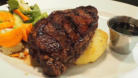 Bistec, deliciós, aliments, sopar, graella, a la brasa, sopar de bistec