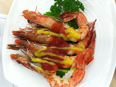 gamberetti, tempura di gamberi, frutti di mare, cibo, cucina