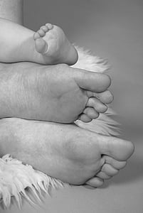 famille, pieds, fermer, enfant, parents, jeune, bébé