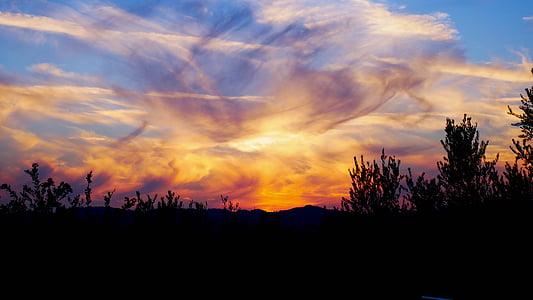 일몰, 빛, 스카이, 구름, 관점, 분위기, 황금 빛