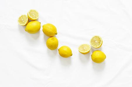 黄色, 柠檬, 白色, 纺织, 柠檬, 水果, 食品