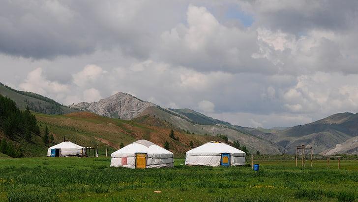 vida nòmada, iurtes, paisatge, Mongòlia, estepa