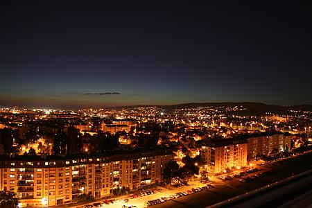 ciutat, nit ciutat, Zagreb, paisatge urbà, nit, ciutat