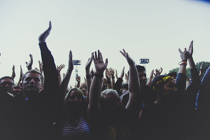group, people, raising, hands, daytime, crowd, party