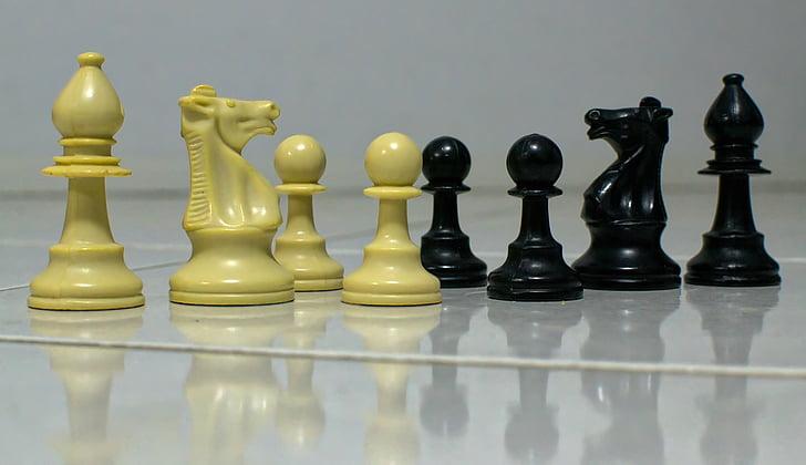 escacs, negre, blanc, repte, Batalla, cavaller, peó