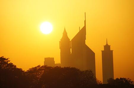 dubai, sunset, skyscraper, architecture, dusk, silhouette