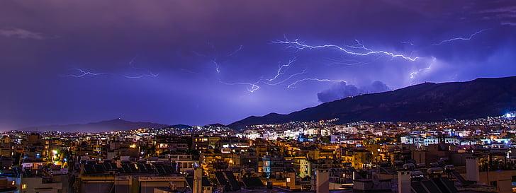 แสงสว่าง, เอเธนส์, พายุ, กรีซ, ท้องฟ้า, ฟ้าร้อง, ฟ้าผ่า