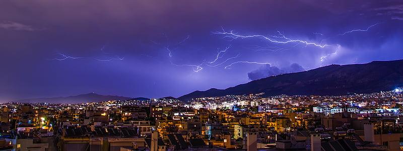 il·luminació, Atenes, tempesta, Grècia, cel, Tro, llamp
