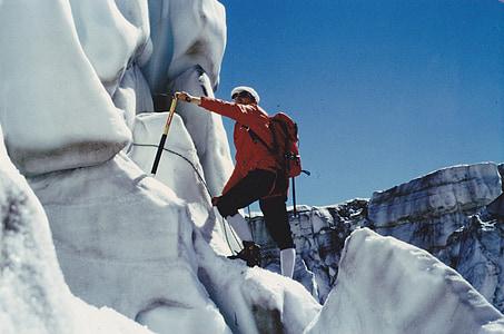 mountaineer, glacier, alpine, mountaineering, nature, high mountains, switzerland