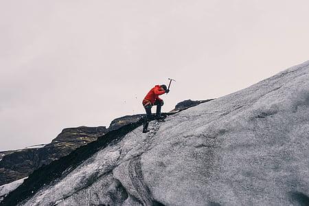 adventure, alpine, climber, climbing, fog, ice, man
