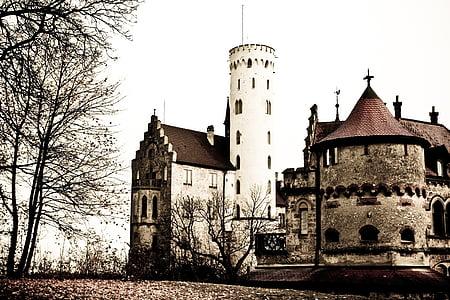 Замок, Замок Ліхтенштейн, вежа, Лицарський замок, притягнення туриста, Burg Ліхтенштейн, Визначні пам'ятки