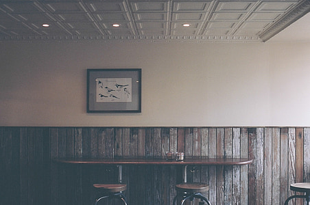 bar, restaurant, table, stools, chairs, wood, paneling