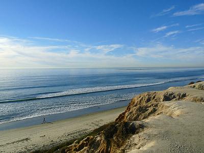 Califòrnia, platja, cel, al costat del mar, sorra, riba, Costa