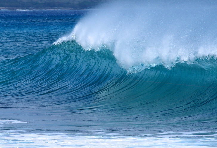 wave, ocean, sea, ocean wave, water, nature, blue