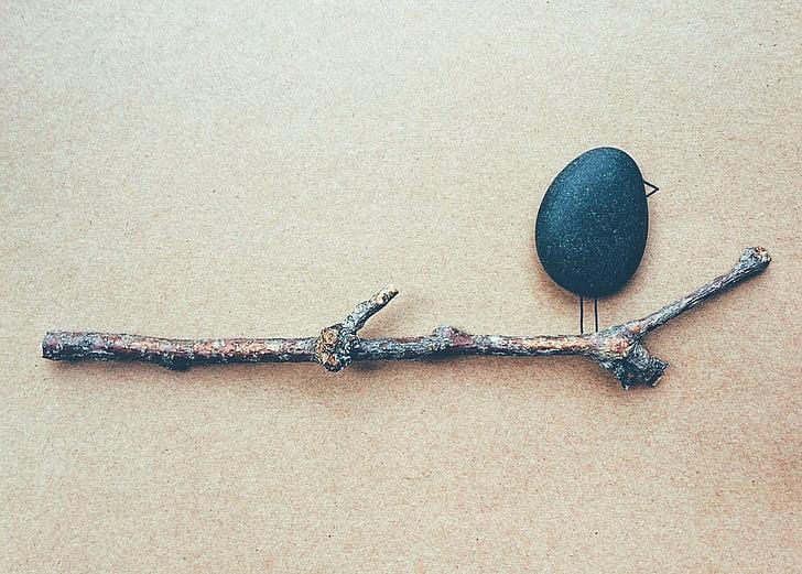 out on a limb, limb, branch, bird, rock, art, close-up