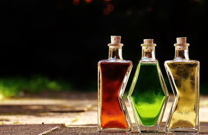 pudelid, alkoholi, vormi, kolm, sobitamine, joogid, jook