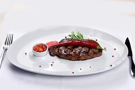 Bistec, Restaurant, aliments, plats, carn, graella, marbre