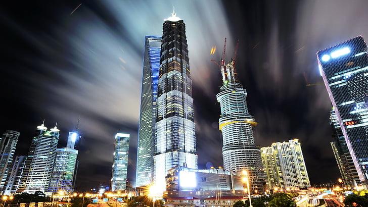 Szanghaj, Pudong, wgląd nocy, noc, gród, miejskich skyline, Architektura