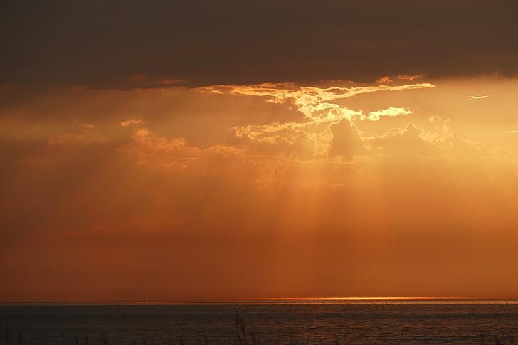 태양, 바다, 일몰, 로맨틱, abendstimmung, 발트 해, 자연