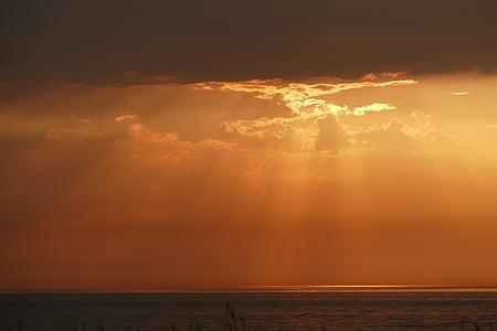 sole, mare, tramonto, romantica, Abendstimmung, Mar Baltico, natura