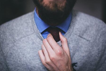 necktie, tie, fashion, beard, male, hand, people