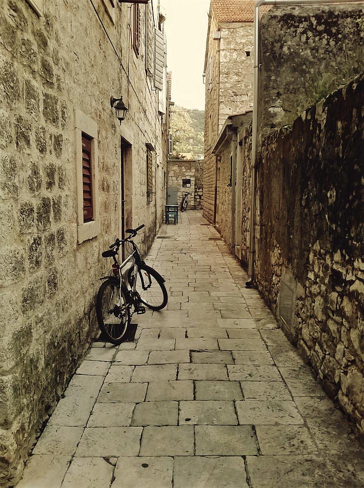 Hrvaška, izposoja, potovanja, ulica, stari, sredozemski, steno