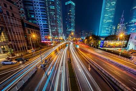 buildings, cars, city, cityscape, downtown, highway, light streaks