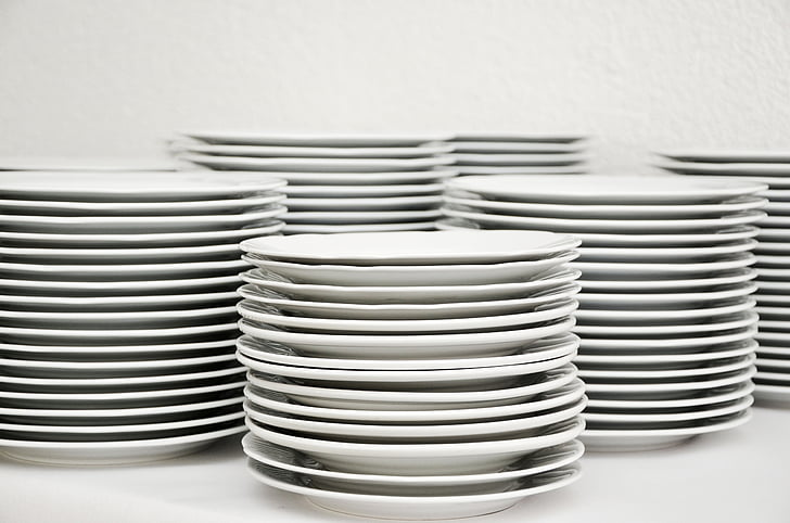 plate, stack, tableware, plate stack, white, rinse, washing dishes